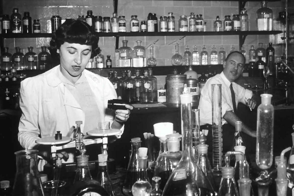 Nutrition is a science - vintage photo of scientists in the lab