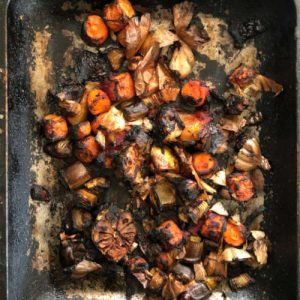 Roasted vegetables ready for beef stock